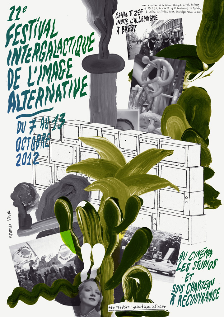 Formes Vives, affiche du Festival intergalactique de l'image alternative, association Canal Ti Zef, A1, offset quadri, septembre 2012