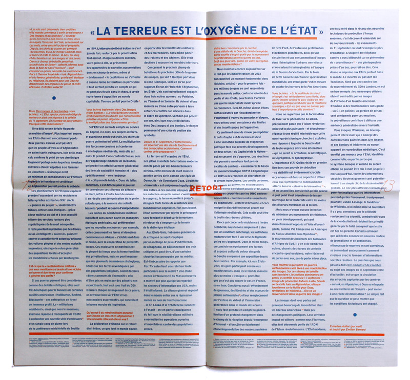 Formes Vives et Thibaud Meltz, double page centrale du journal Article11 n°1, 24x44cm (plié), offset rotative 2 tons, novembre 2010